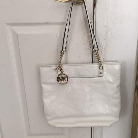 41e5265bb7eb Patent White Leather Gold Chain Michael Kors Tote.  M_5b4935cc04e33d0e05f9bed2